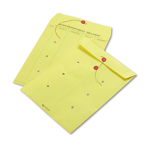 QualityPrk Colored Paper String & Button Interoffice Envelope, 10 X 13, Yellow, 100-box