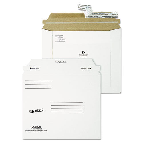 QualityPrk Recycled Redi Strip Economy Disk Mailer, 7 1-2 X 6 1-16, White, 100-carton