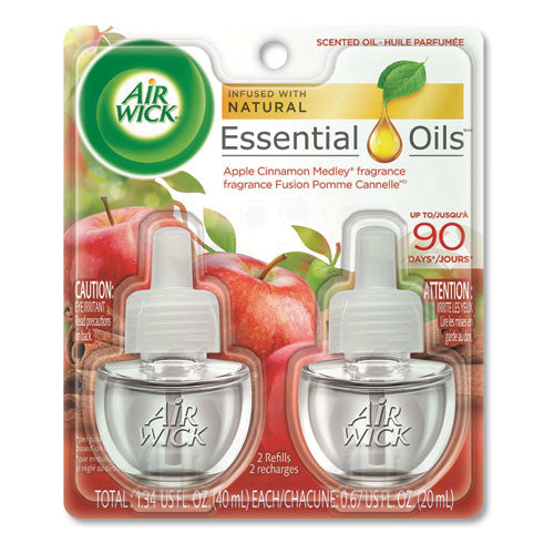 Air Wick WARMING SCENTED OIL REFILL, 0.67 OZ, APPLE CINNAMON MEDLEY, 2-PACK, 6 PACKS-CT