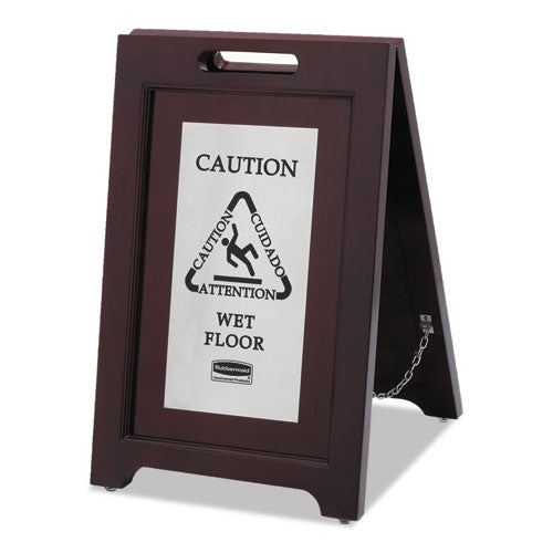 Rubbermaid Executive 2-Sided Multi-Lingual Caution Sign, Brown-stainless Steel,15 X 23 1-2