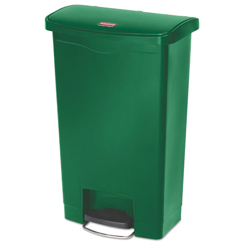 Rubbermaid Slim Jim Resin Step-On Container, Front Step Style, 13 Gal, Green
