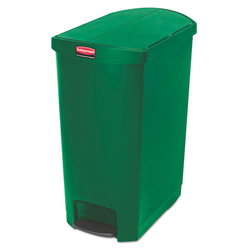 Rubbermaid Slim Jim Resin Step-On Container, End Step Style, 24 Gal, Green