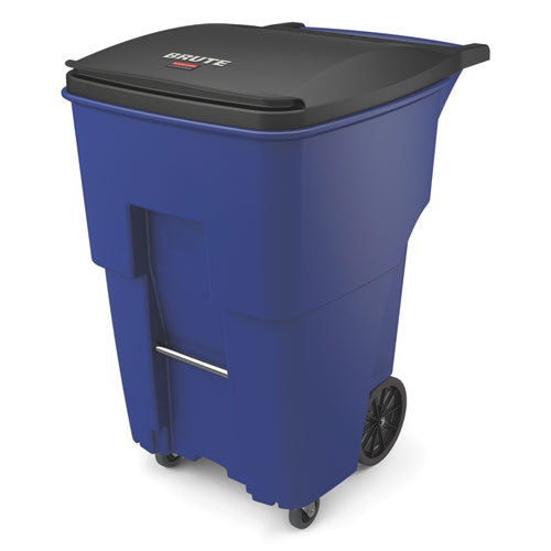 Rubbermaid Brute Rollouts With Casters, Square, 95 Gal, Blue