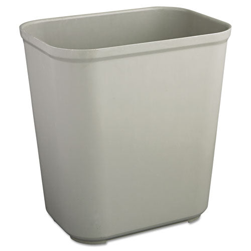 Rubbermaid Fire-Resistant Wastebasket, Rectangular, Fiberglass, 7gal, Gray