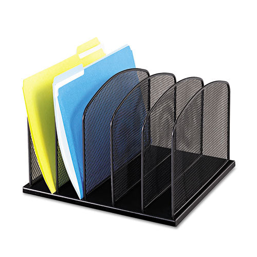 Safco Mesh Desk Organizer, Five Sections, Steel, 12 1-2 X 11 1-4 X 8 1-4, Black