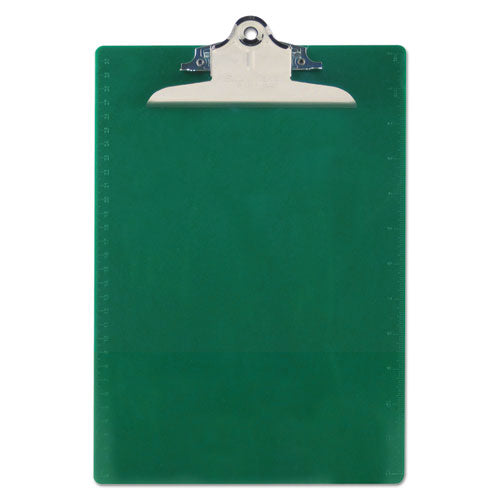 "Saunders Recycled Plastic Clipboard With Ruler Edge, 1"" Clip Cap, 8 1-2 X 12 Sheet, Green"