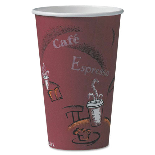 Dart SOLO BISTRO DESIGN HOT DRINK CUPS, PAPER, 16OZ, MAROON, 50-PACK