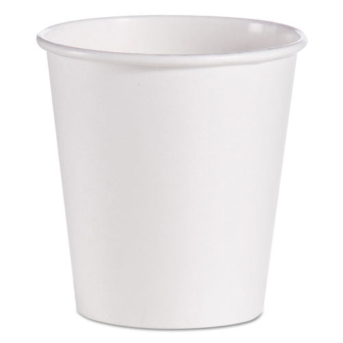 Dart Single-Sided Poly Paper Hot Cups, 10 Oz, White, 1000-carton