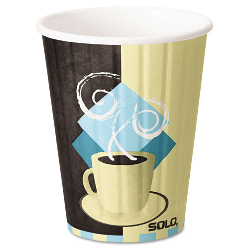 Dart Duo Shield Insulated Paper Hot Cups, 12oz, Tuscan, Chocolate-blue-beige, 600-ct