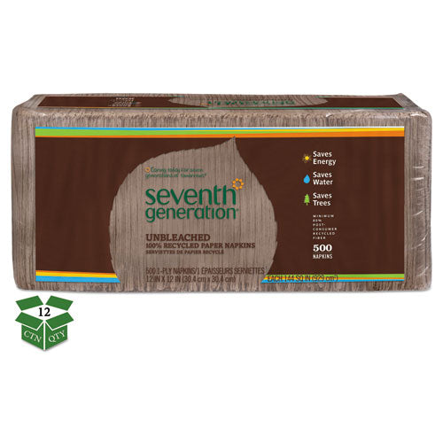 SeventhGen 100% Recycled Napkins, 1-Ply, 12 X 12, Unbleached, 500-pack, 12 Packs-carton