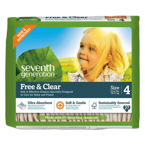 SeventhGen FREE AND CLEAR BABY DIAPERS, SIZE 4, 22 LBS TO 32 LBS, 108-CARTON