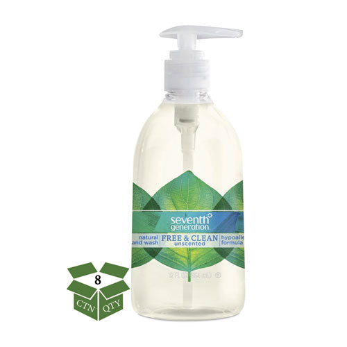 SeventhGen NATURAL HAND WASH, FREE & CLEAN, UNSCENTED, 12 OZ PUMP BOTTLE, 8-CT