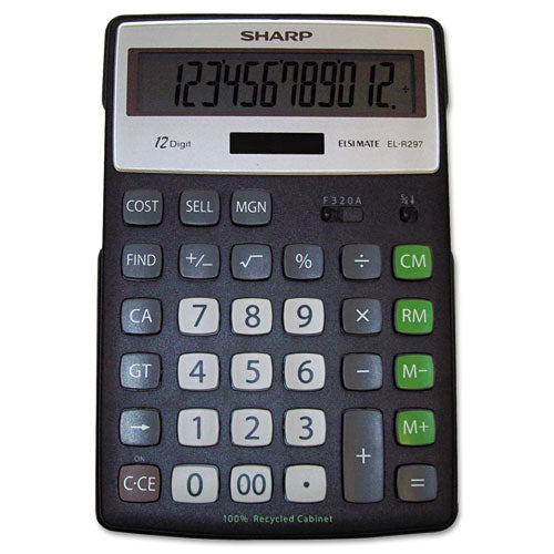Sharp El-R297bbk Recycled Series Calculator W-kickstand, 12-Digit Lcd