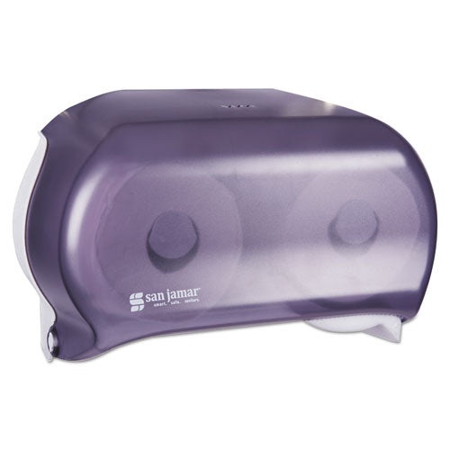 San Jamar Versatwin Tissue Dispenser, 8 X 5 3-4 X 12 3-4, Transparent Black Pearl