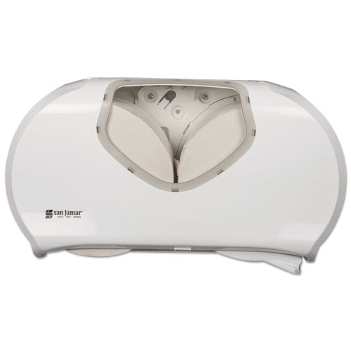 San Jamar Twin Jumbo Bath Tissue Dispenser, 19 1-4 X 6 X 12 1-4, White-clear