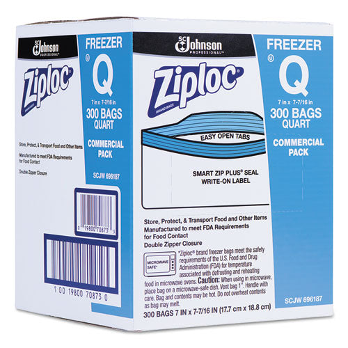 Ziploc Double Zipper Freezer Bags, 1qt, 2.7mil, 7 X 7 3-4, Clear W-label, 300-carton