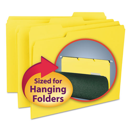 Smead Interior File Folders, 1-3 Cut Top Tab, Letter, Yellow, 100-box