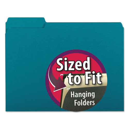 Smead Interior File Folders, 1-3 Cut Top Tab, Letter, Teal 100-box