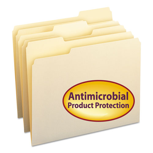 Smead FILE FOLDER W-ANTIMICROBIAL PROTECTION, 1-3 CUT TOP TAB, LETTER, MANILA, 100-BOX