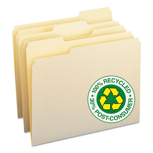 Smead 100% Recycled File Folders, 1-3 Cut, One-Ply Top Tab, Letter, Manila, 100-box