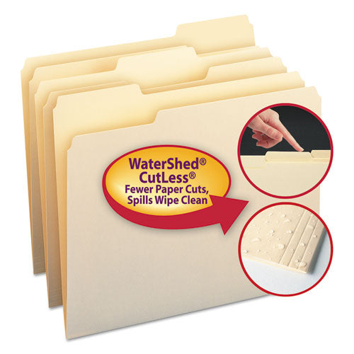 Smead Watershed-cutless File Folders, 1-3 Cut Top Tab, Letter, Manila, 100-box