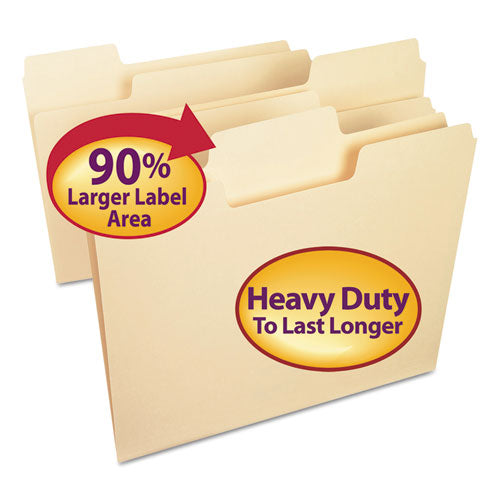 Smead Supertab Heavyweight Folder, Manila, 1-3 Cut, Letter, 50-bx