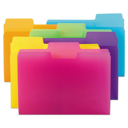 Smead SUPERTAB POLY TOP TAB FILE FOLDER, 1-3 TAB, LETTER, ASSORTED, 18-PACK