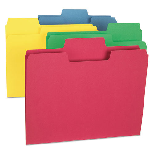 Smead SUPERTAB COLORED FILE FOLDERS, 1-3 TAB, LETTER, ASSORTED COLORS, 24-PK
