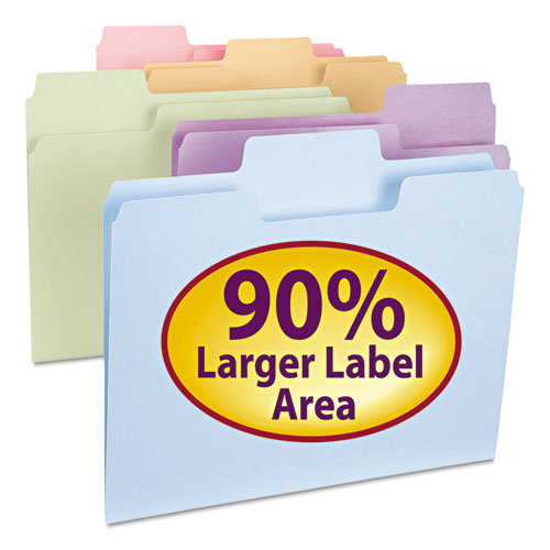 Smead Supertab File Folders, 1-3 Cut Top Tab, Letter, Assorted Colors, 100-box