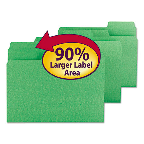 Smead Supertab Colored File Folders, 1-3 Cut, Letter, Green, 100-box