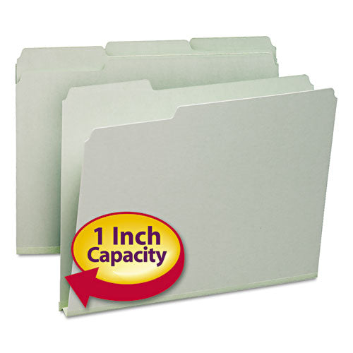 "Smead PRESSBOARD FILE FOLDERS, 1"" EXP, 1-3-CUT TOP TAB, LETTER, GY-GN, 25-BOX"