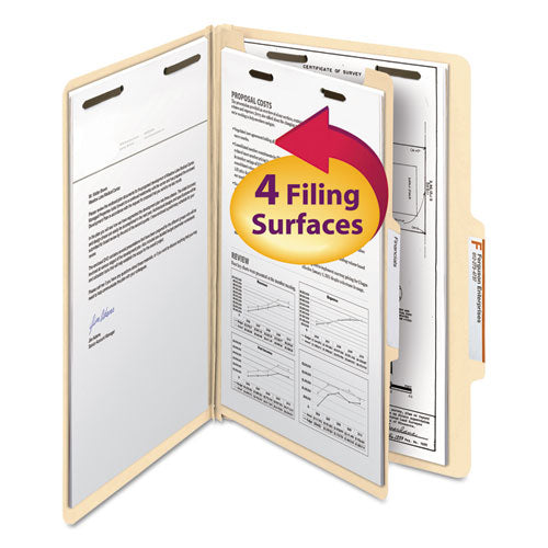 Smead Manila Classification Folders With 2-5 Right Tab, Legal, Four-Section, 10-box