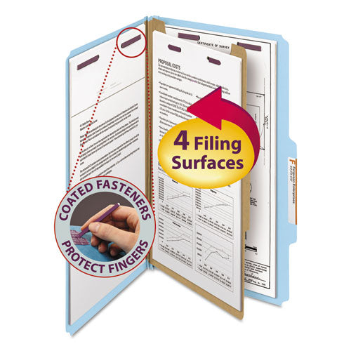 Smead Pressboard Classification Folders, Legal, Four-Section, Blue, 10-box