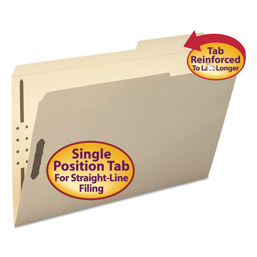 Smead Folder, Two Fasteners, 2-5 Cut Right, Top Tab, Legal, Manila, 50-box