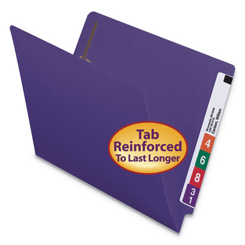 Smead HEAVYWEIGHT END TAB FOLDERS WITH FASTENERS, STRAIGHT CUT, LETTER, PURPLE, 50-BOX