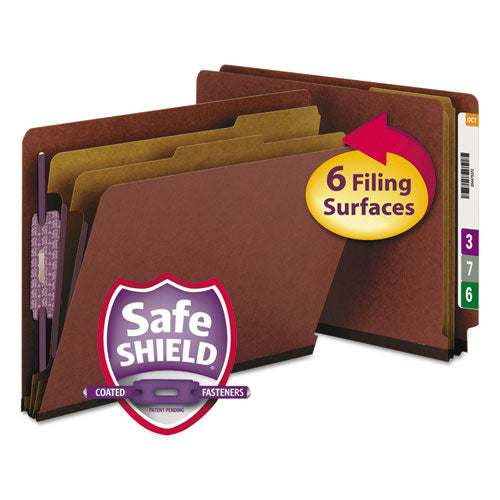 Smead Pressboard End Tab Classification Folder, Letter, Six-Section, Red, 10-box