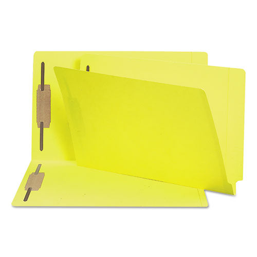 Smead Two-Inch Capacity Fastener Folders, Straight Tab, Legal, Yellow, 50-box