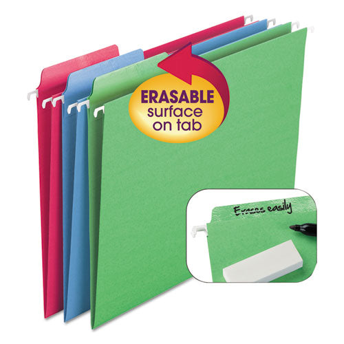 Smead Erasable Fastab Hanging Folders, 1-3-Cut, Letter, 11 Point St, Assorted, 18-box