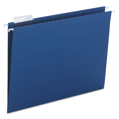 Smead Hanging File Folders, 1-5 Tab, 11 Point Stock, Letter, Navy, 25-box