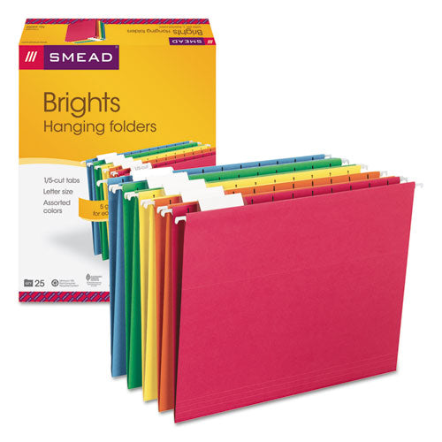 Smead Hanging File Folders, 1-5 Tab, 11 Point Stock, Letter, Assorted Colors, 25-box