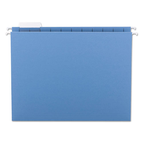 Smead Hanging File Folders, 1-5 Tab, 11 Point Stock, Letter, Blue, 25-box