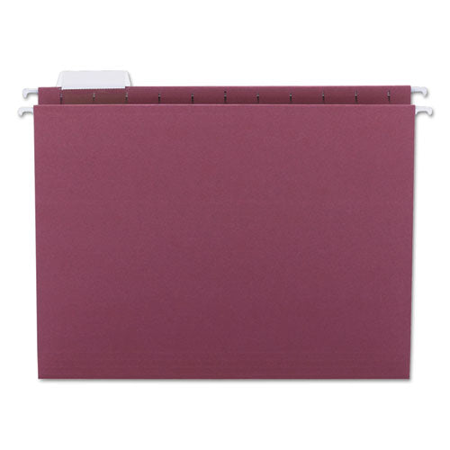 Smead Hanging File Folders, 1-5 Tab, 11 Point Stock, Letter, Maroon, 25-box