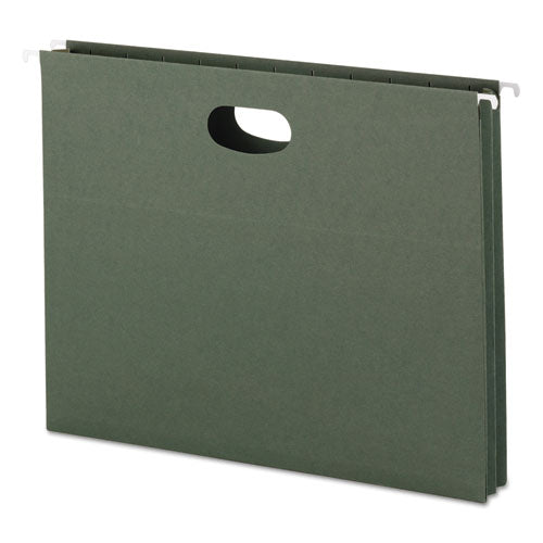 "Smead 1 3-4"" Cap Hanging Pockets W-full-Height Gussetts, Letter, Green, 25-box"