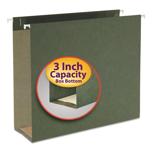 Smead Three Inch Capacity Box Bottom Hanging File Folders, Letter, Green, 25-box