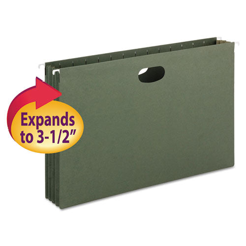 "Smead 3 1-2"" Cap Hanging Pockets W-full-Height Gussetts, Legal, Green, 10-box"