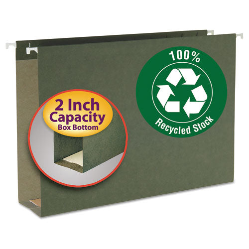 Smead Two Inch Capacity Box Bottom Hanging File Folders, Legal, Std Green, 25-box