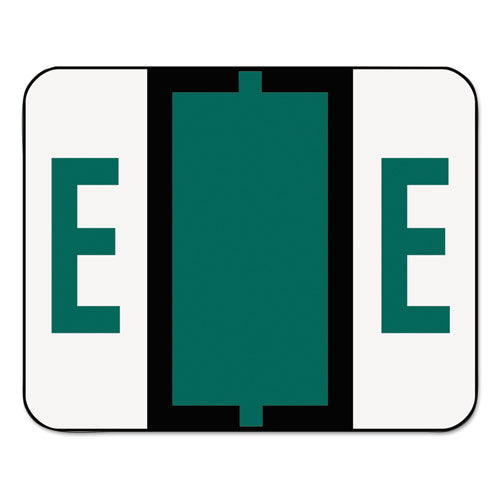 Smead A-Z Color-Coded Bar-Style End Tab Labels, Letter E, Dark Green, 500-roll