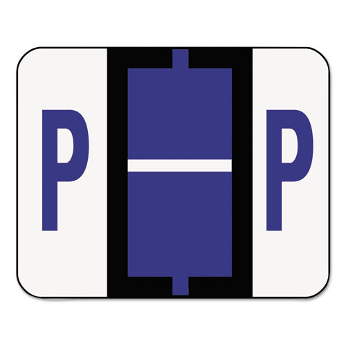 Smead A-Z Color-Coded Bar-Style End Tab Labels, Letter P, Violet, 500-roll