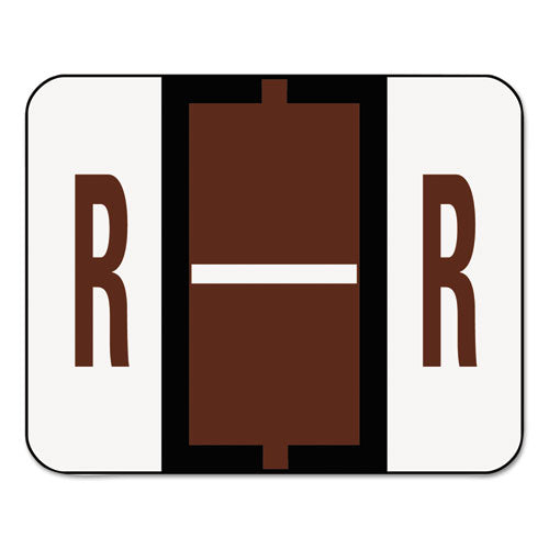 Smead A-Z Color-Coded Bar-Style End Tab Labels, Letter R, Brown, 500-roll