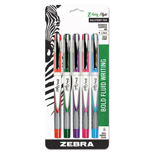 Zebra Z-Grip Flight Stick Ballpoint Pen, Assorted, 5-pack